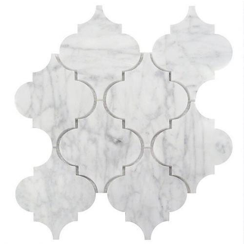 Italian Marble Mosaic Carrara White , Polished , and Waterjet