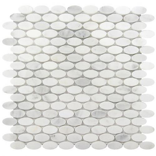 Marble Mosaic Oval White Statuary Polished